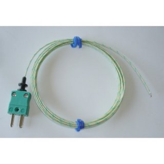 Thermocouple Type K, 1m Fibreglass Insulated Lead, Exposed Junction, Plug,  -60 to +350°C